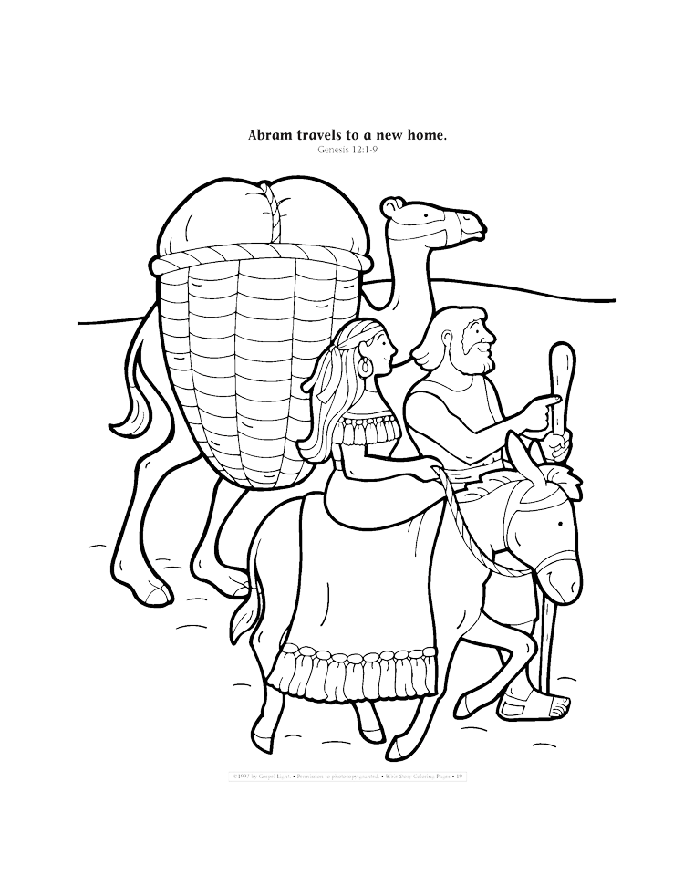Abram travels to a new home coloring page