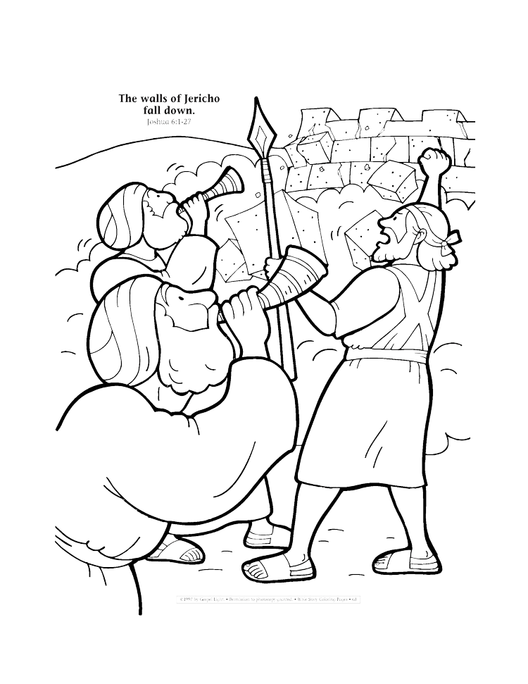 The walls of Jericho fall down coloring page