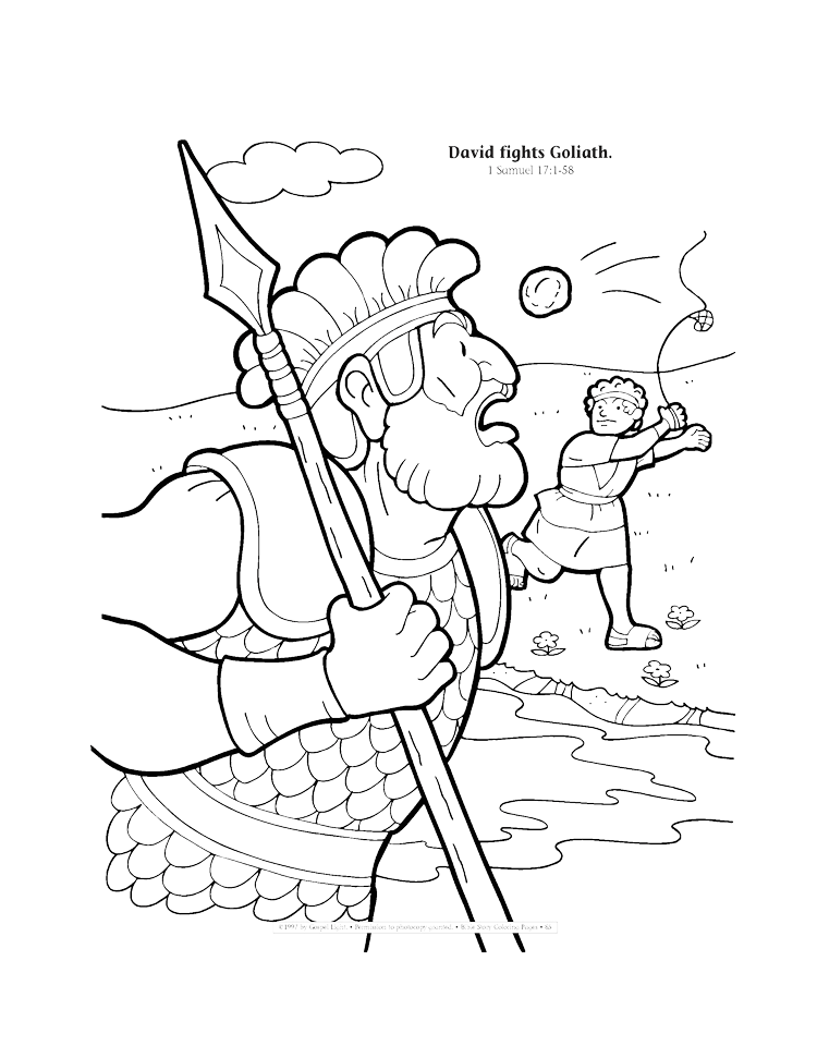 David fights Goliath coloring page