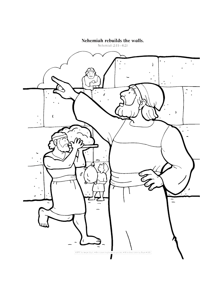Nehemiah and the Wall Coloring Page - Children's Bible Activities ... | 971x750