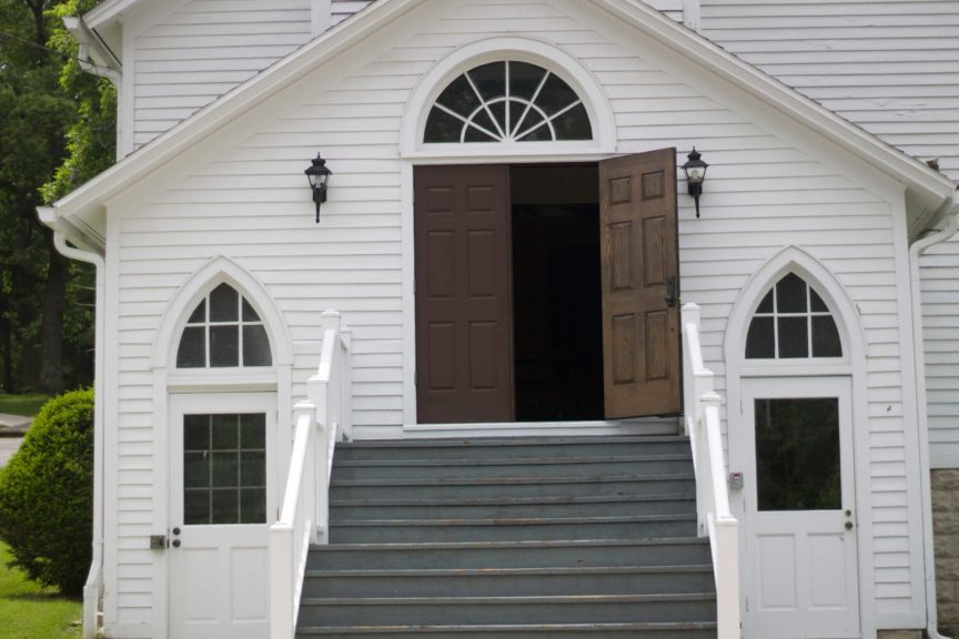 A church with a open door