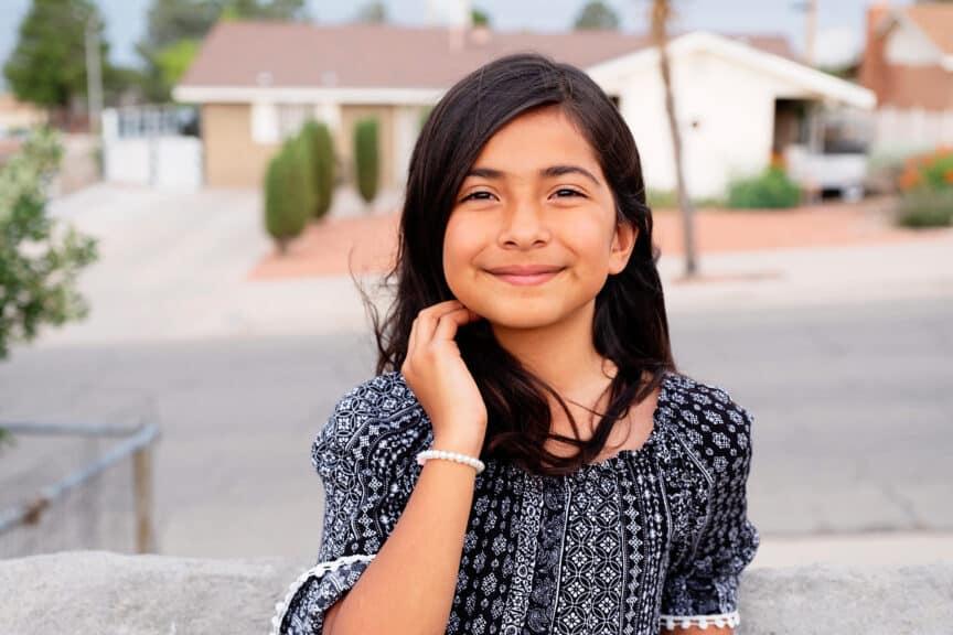 Portrait-of-Pre-Teen-Girl-In-Her-Neighborhood