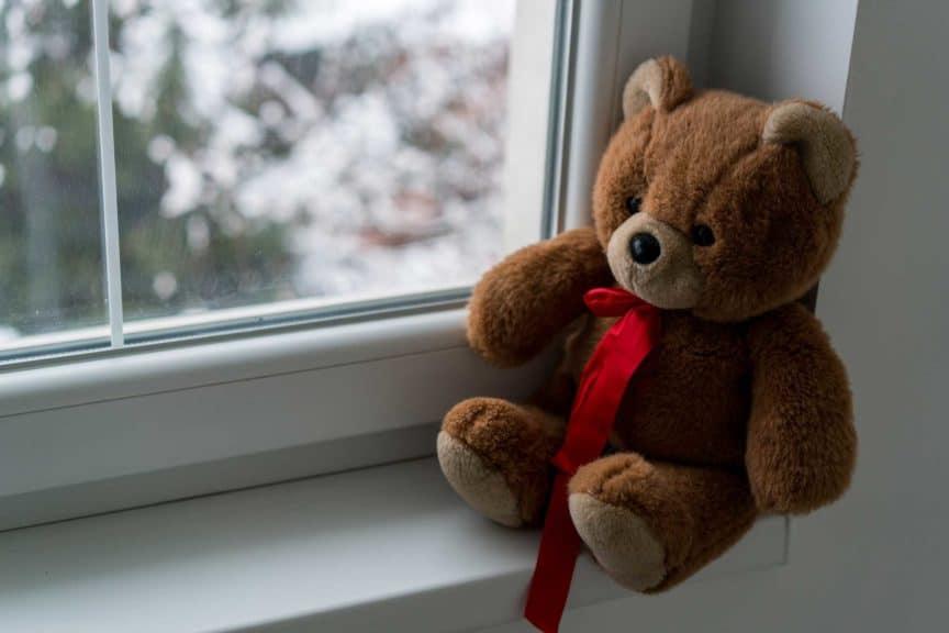 Teddy Bear sitting on winter window