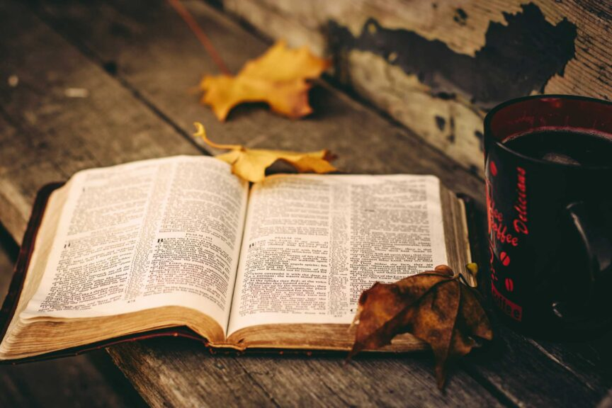 bible-fall-leaves-coffee-outside