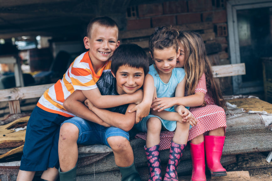 Portrait of farm children