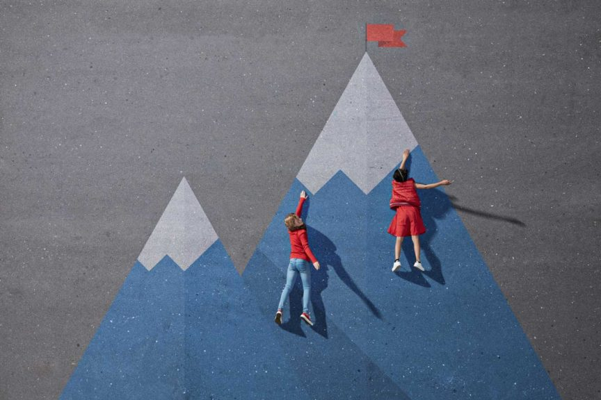 Children climbing painted imaginary mountain