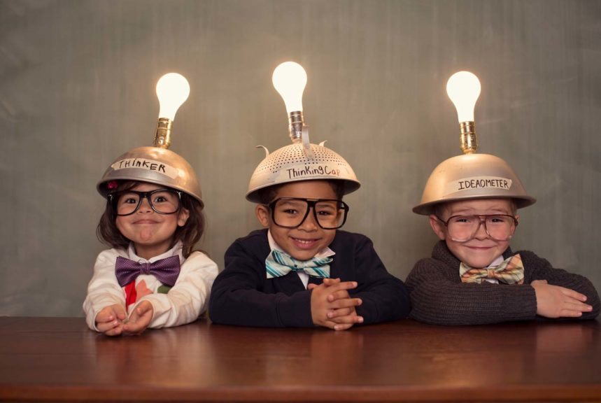 Children Wearing Lighted Mind Reading Helmets