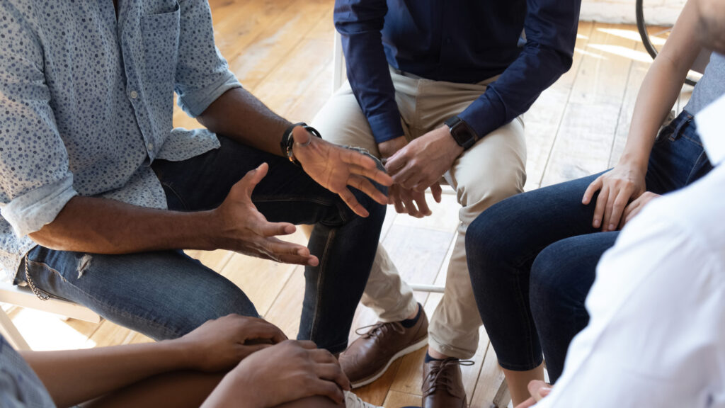 counselor speak at group counseling therapy session