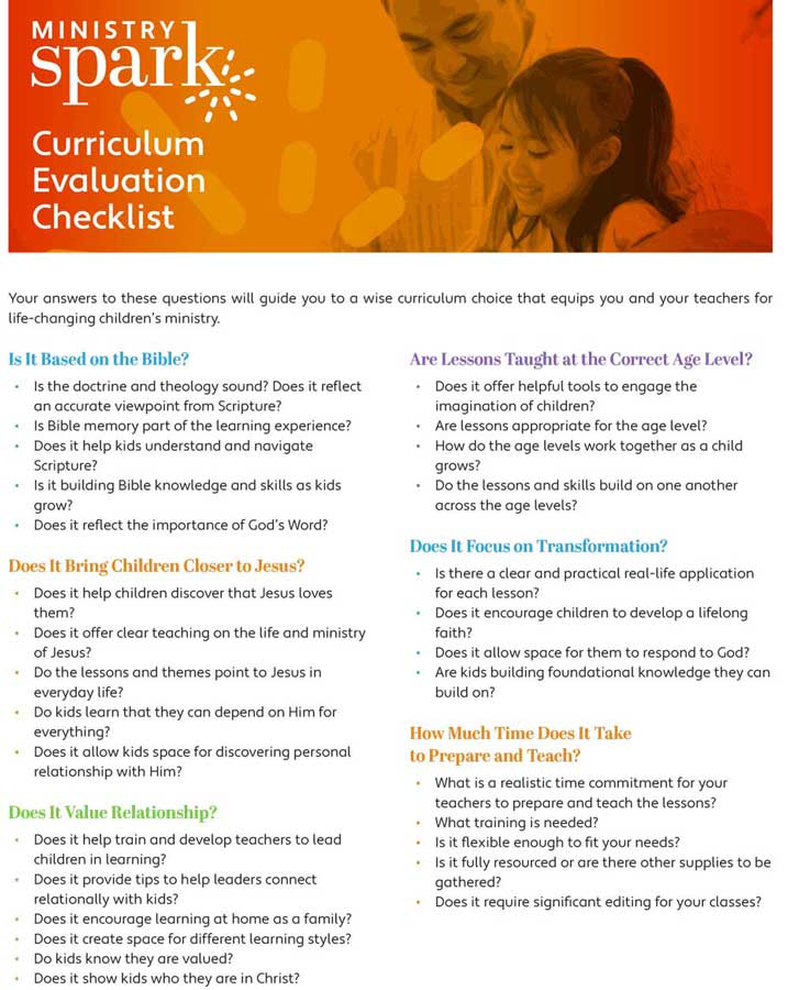 Curriculum Evaluation Checklist for Your Kids Ministry