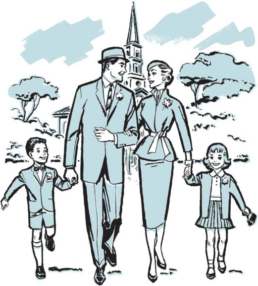 family going to church illustration