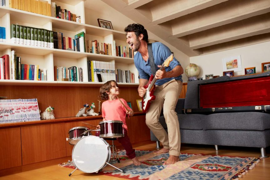 father-son-playing-musical-instruments
