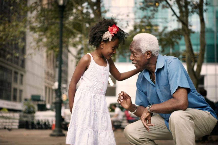 grandaughter-grandfather-city-talking