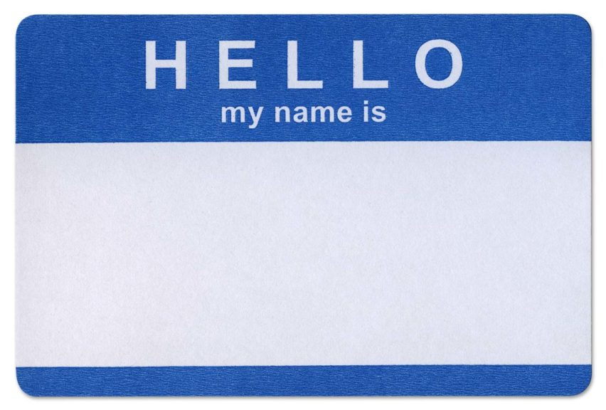 'Hello my name is' adhesive sticker on white