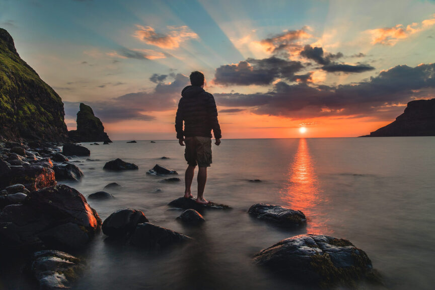 man-sunset-ocean-water-view