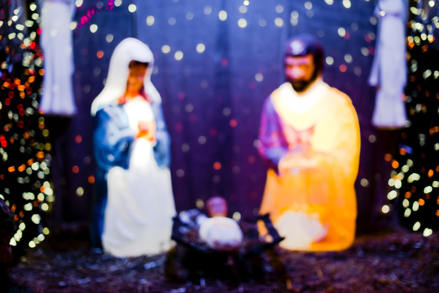 Nativity joseph and mary praying