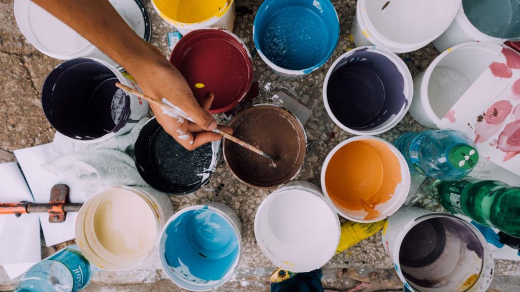 painting-hand-brush-paint-buckets