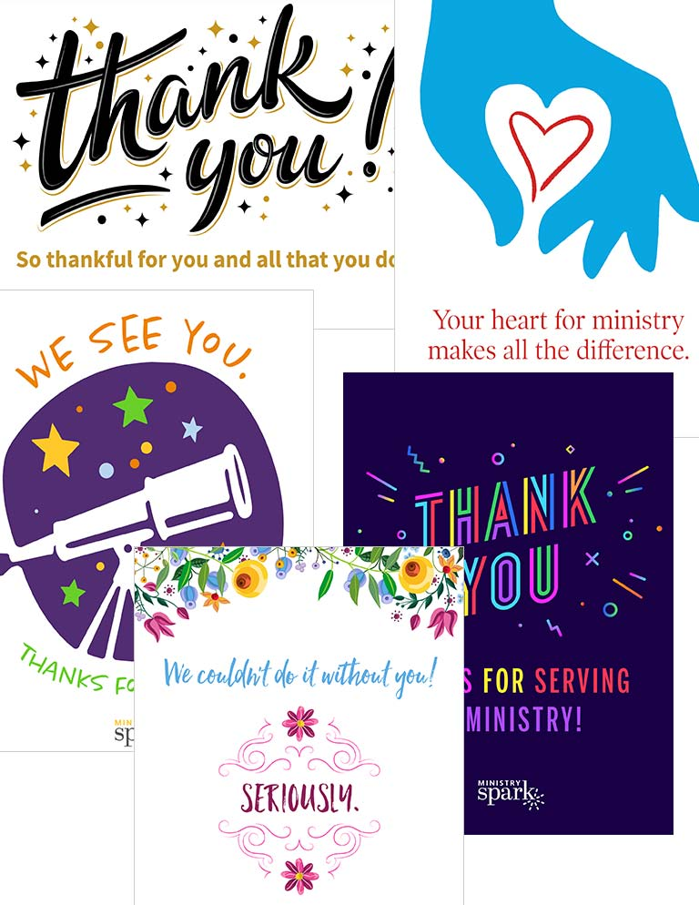 Ministry volunteer cards montage